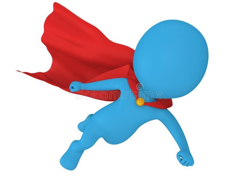 3d stawiają czoło bohatera z czerwonym peleryny lataniem ilustracja wektor