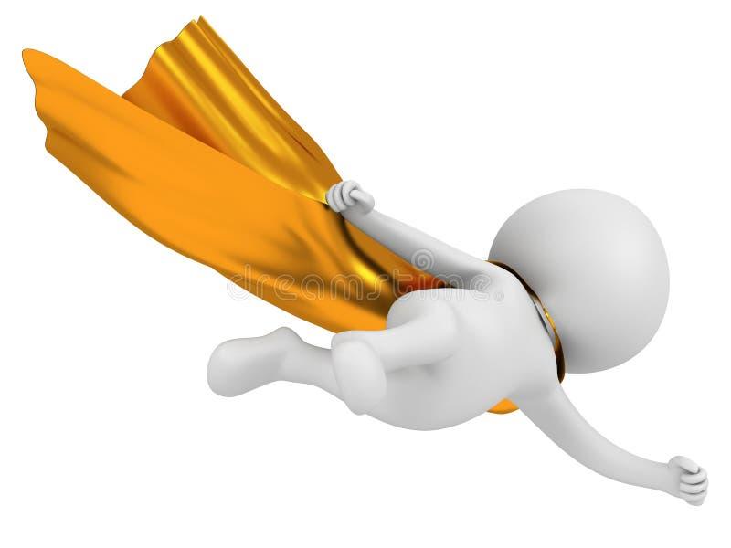 3d stawiają czoło bohatera z złocistym peleryny lataniem above ilustracja wektor