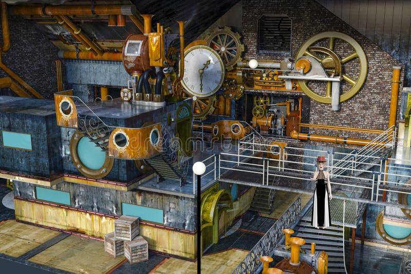 3D steampunk妇女的例证在老被放弃的工厂 库存例证