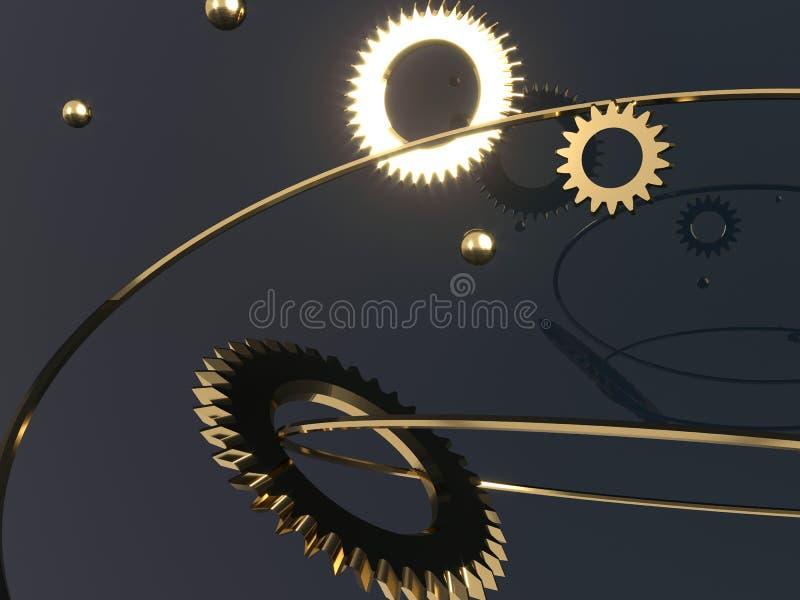 3d Steampunkmechanisme - geef illustratie terug Toestellen, vliegende metaalgebieden en gouden ringen royalty-vrije illustratie