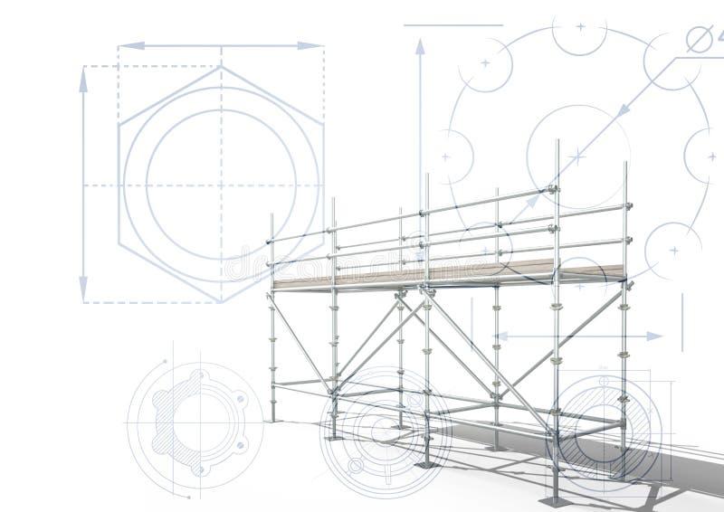 3D steiger met witte achtergrond met radertjes royalty-vrije illustratie