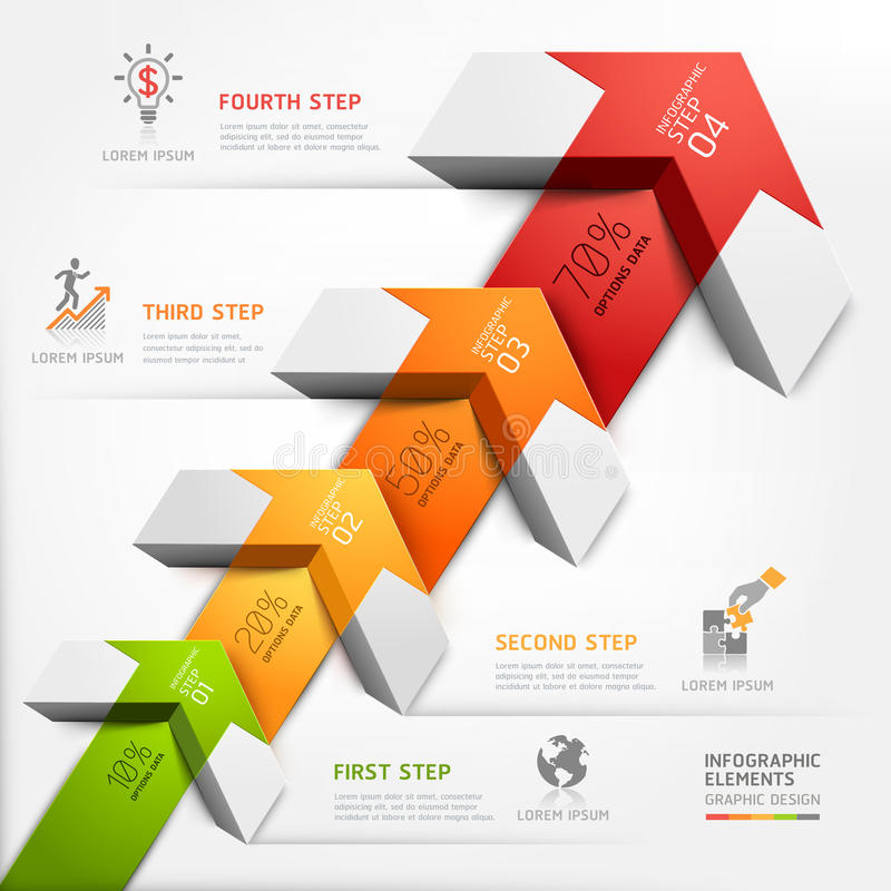 3d step up arrow staircase diagram business. stock illustration