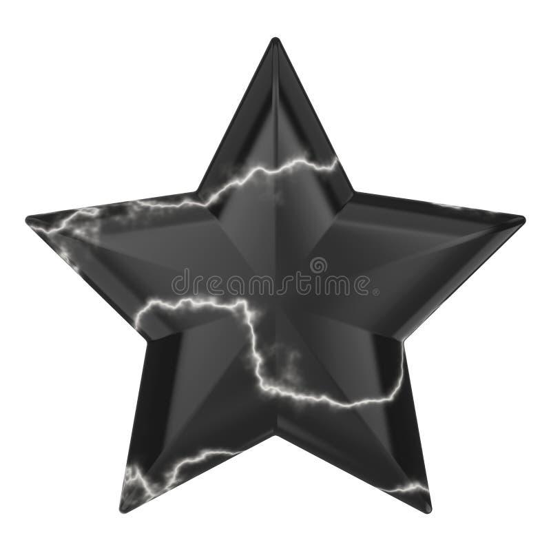 3D ster van de illustratie zwarte marmeren rots royalty-vrije illustratie