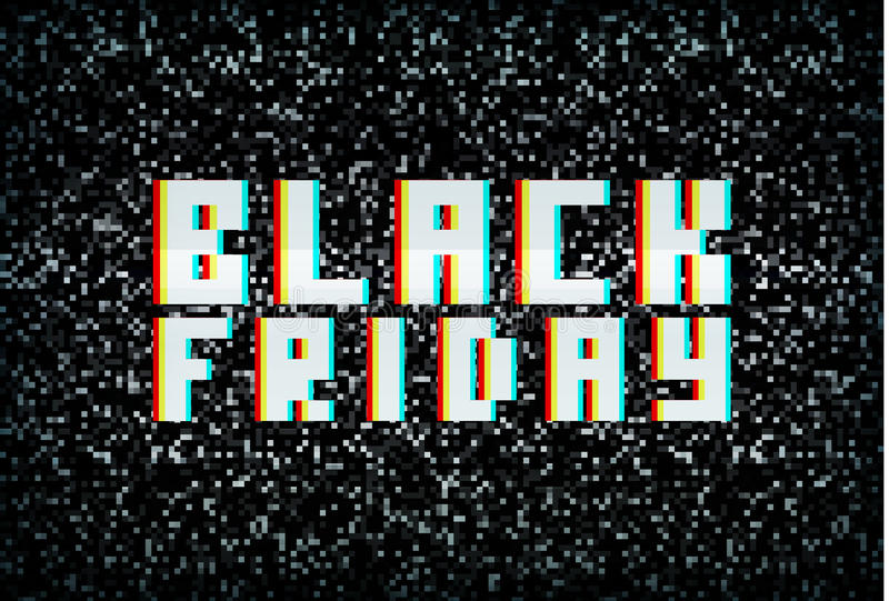 3D stereo effect black friday banner, sale announcement vector illustration