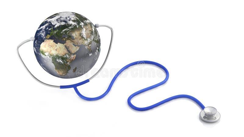 3d stetoskopu ilustracyjna ziemia ilustracja wektor