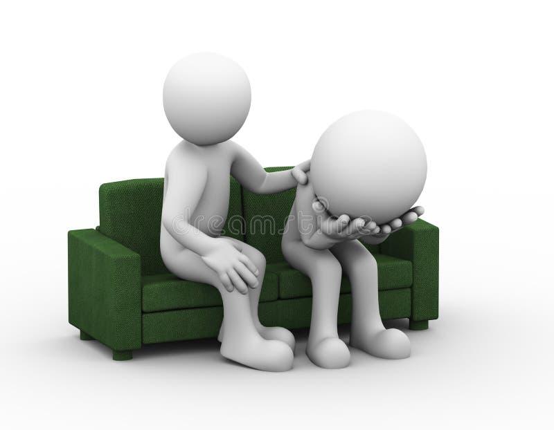 3d steun van de mensenhulp aan gedeprimeerde droevige persoon royalty-vrije illustratie
