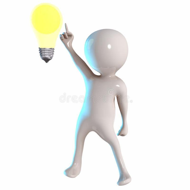 3D Stickman with bulb light royalty free illustration