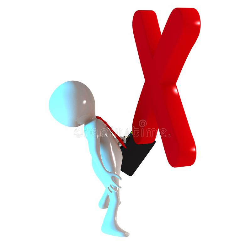 3D Stickman with cross symbol stock illustration