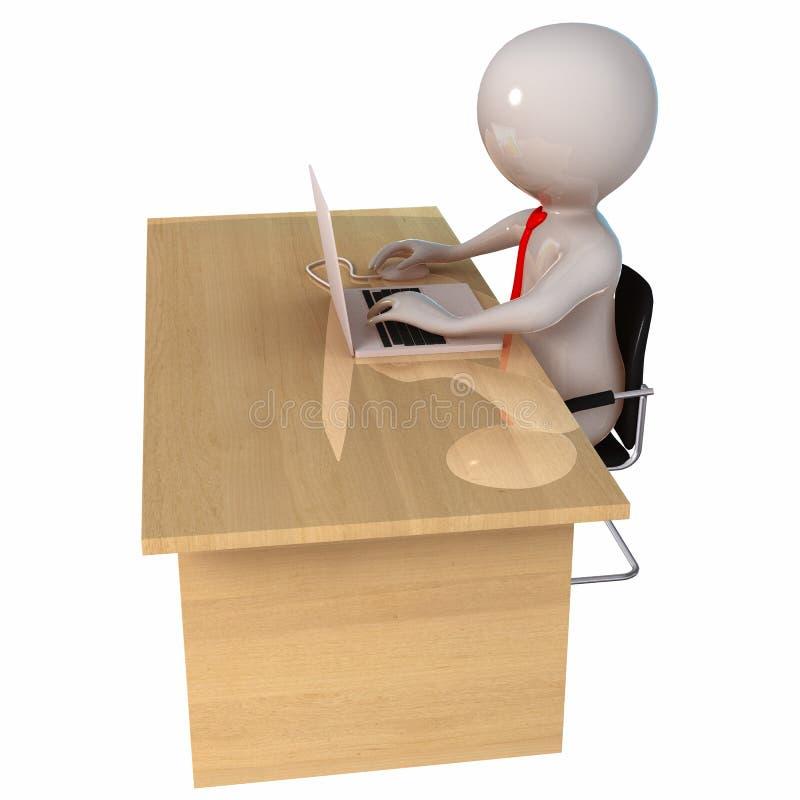 3D Stickman与膝上型计算机一起使用 库存例证