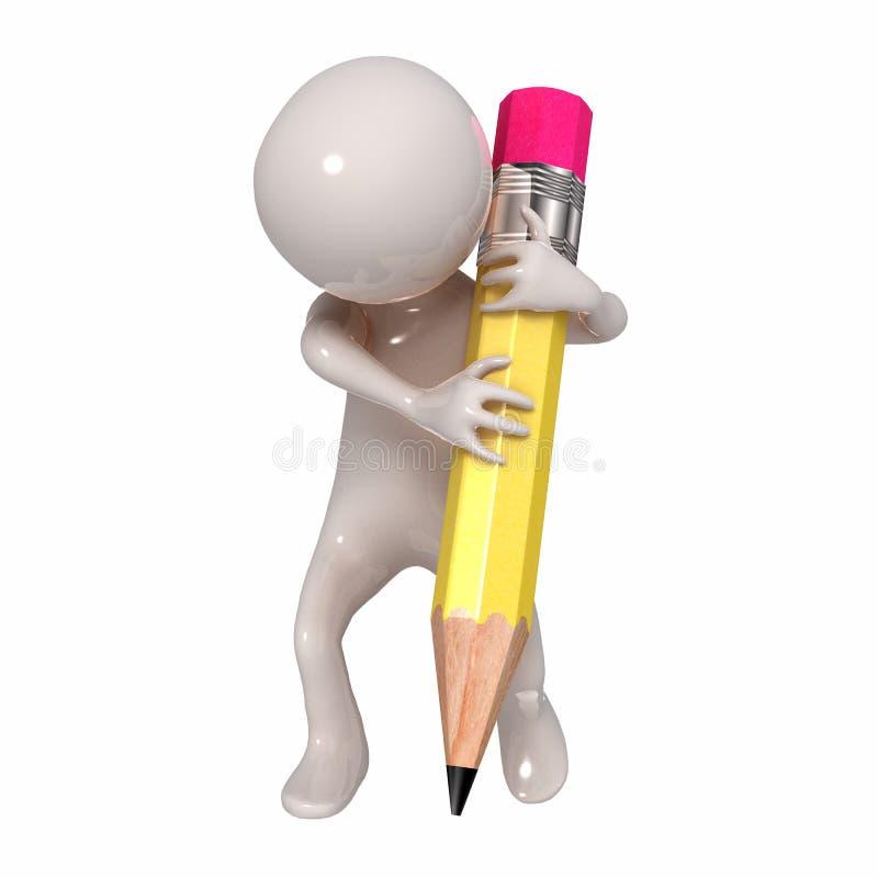 3D Stickman с карандашем бесплатная иллюстрация