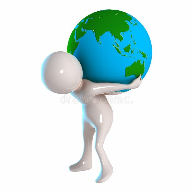 3D Stickman avec le globe illustration libre de droits