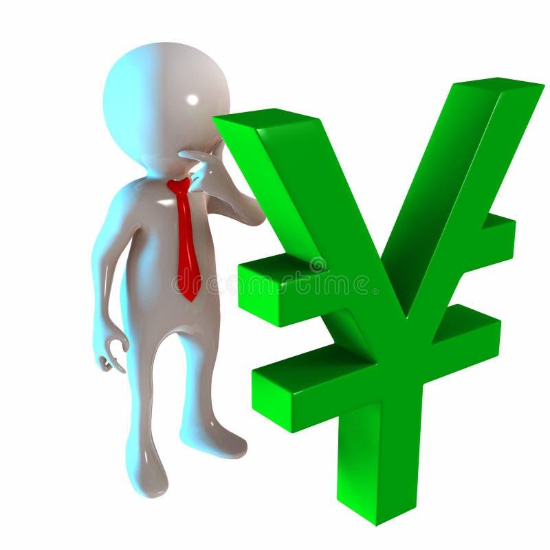 3D Stickman avec Yen Money illustration libre de droits