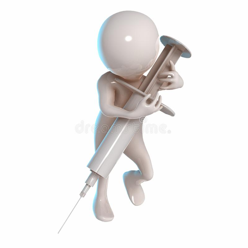 3D Stickman con una siringa royalty illustrazione gratis