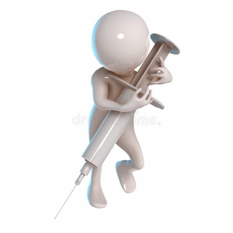 3D Stickman med en injektionsspruta royaltyfri illustrationer