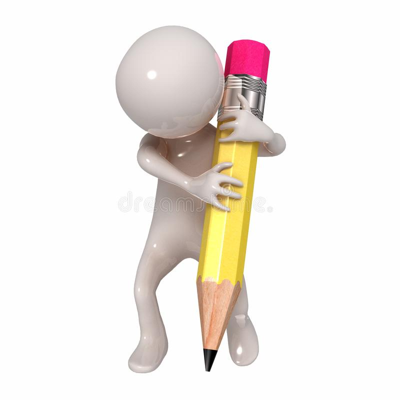 3D Stickman with a pencil royalty free illustration
