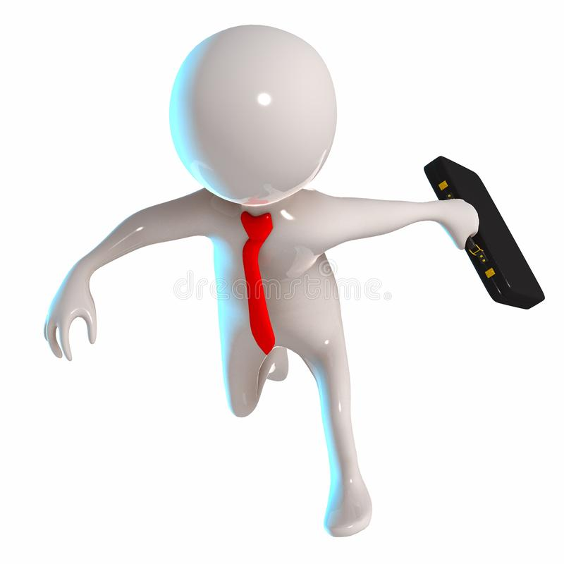 3D Stickman running with briefcase vector illustration