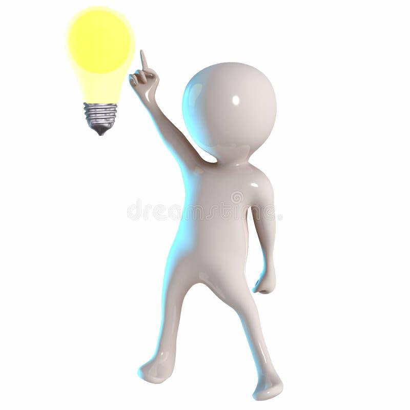 3D Stickman z żarówki światłem royalty ilustracja