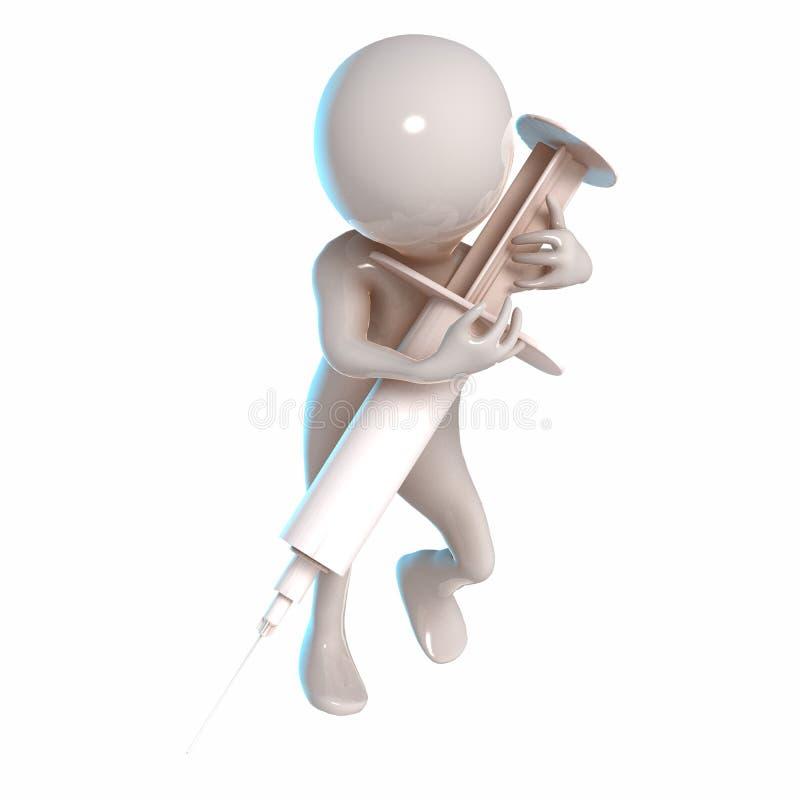 3D Stickman z białą strzykawką ilustracja wektor
