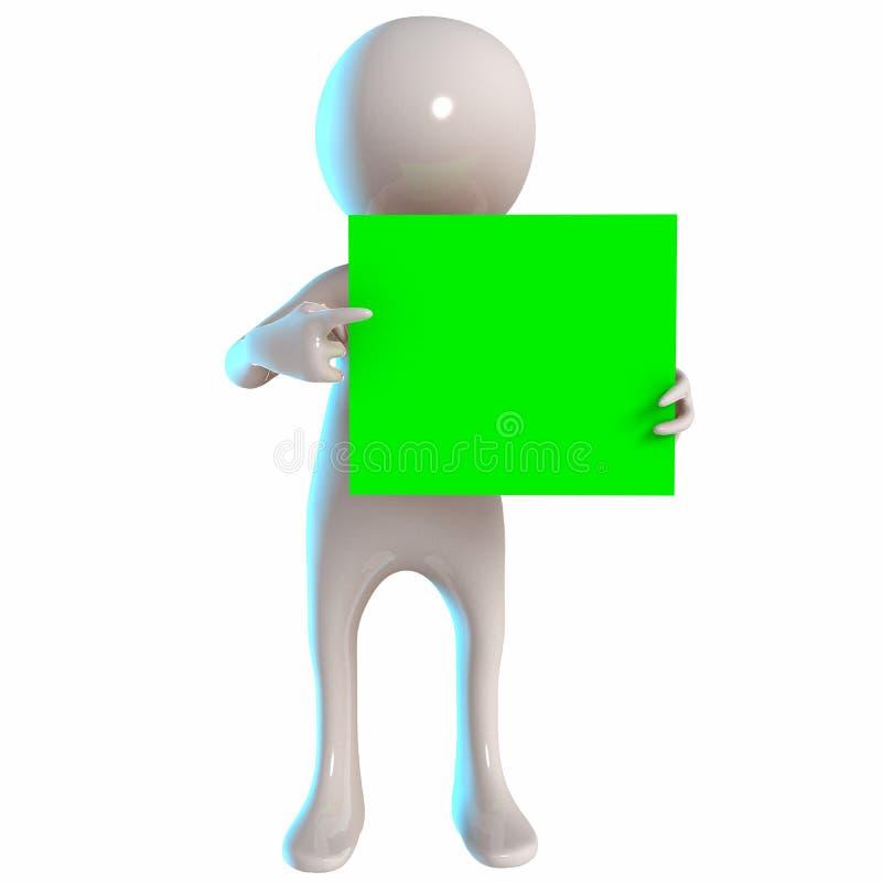 3D Stickman z zieleni deską royalty ilustracja