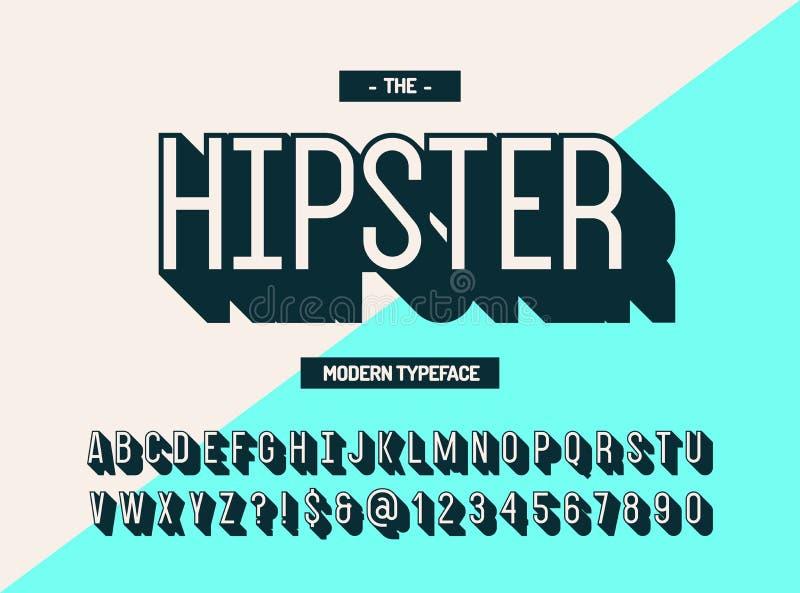 3d stijl van de Hipster de moderne lettersoort Koele doopvont stock illustratie