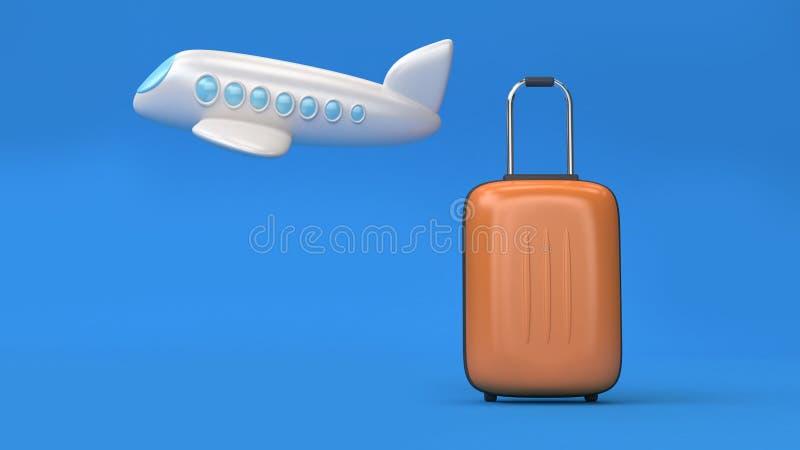 3d stijl van het vliegtuigbeeldverhaal en de bagage-zak minimale blauwe achtergrond, het gaande 3d concept van het reisvervoer ge royalty-vrije stock afbeeldingen