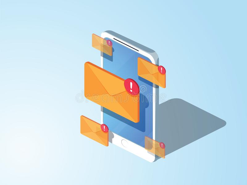 3d stijlontwerp E-mail die vlak isometrisch concept op de markt brengen vector illustratie