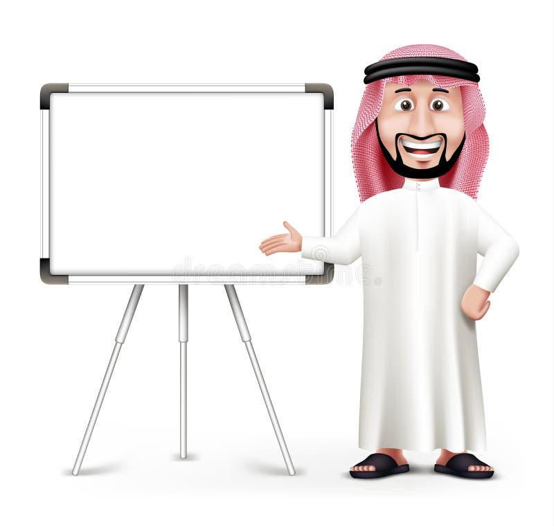 3D stilig saudier - arabisk man i traditionell klänning royaltyfri illustrationer