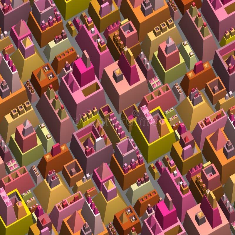 3d stilisierte futuristische Stadt in der mehrfachen hellen Farbe lizenzfreie abbildung