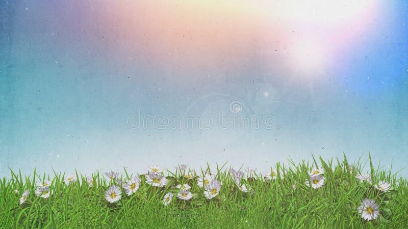 3D stokrotki w trawy pogodnym niebie z grunge retro skutkiem ilustracja wektor