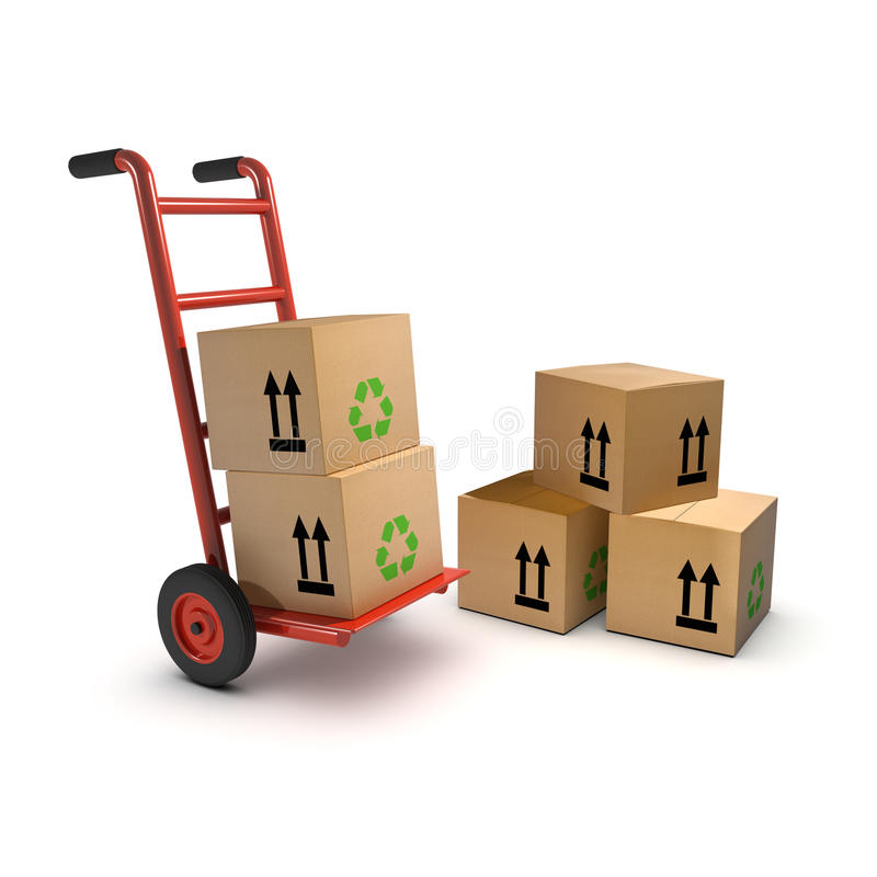 3d Stootkar en kartondozen stock illustratie