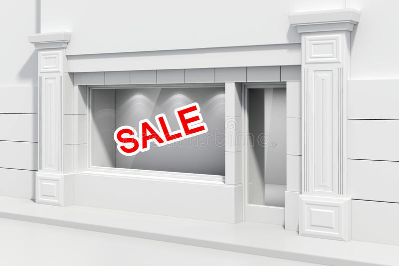 3d store shopfront. With big windows stock illustration