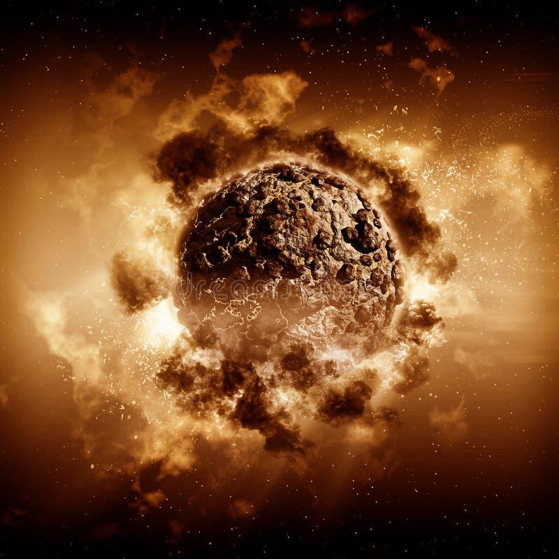 3D stormachtige planeetscène vector illustratie