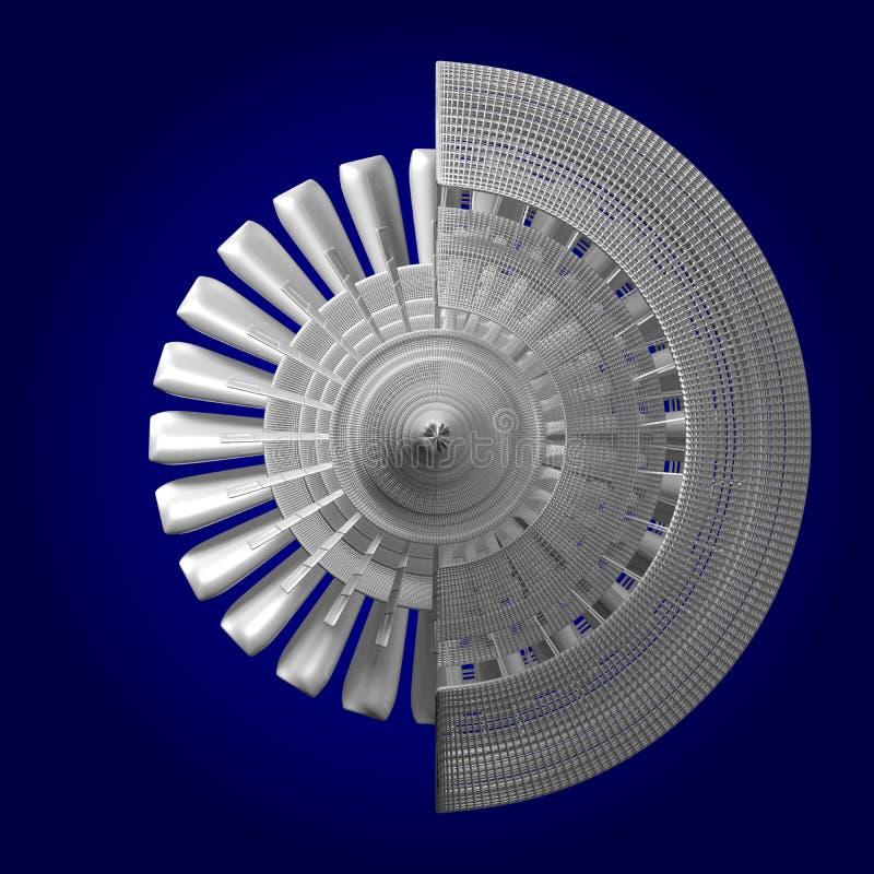 3D straalmotor - achtermening royalty-vrije illustratie