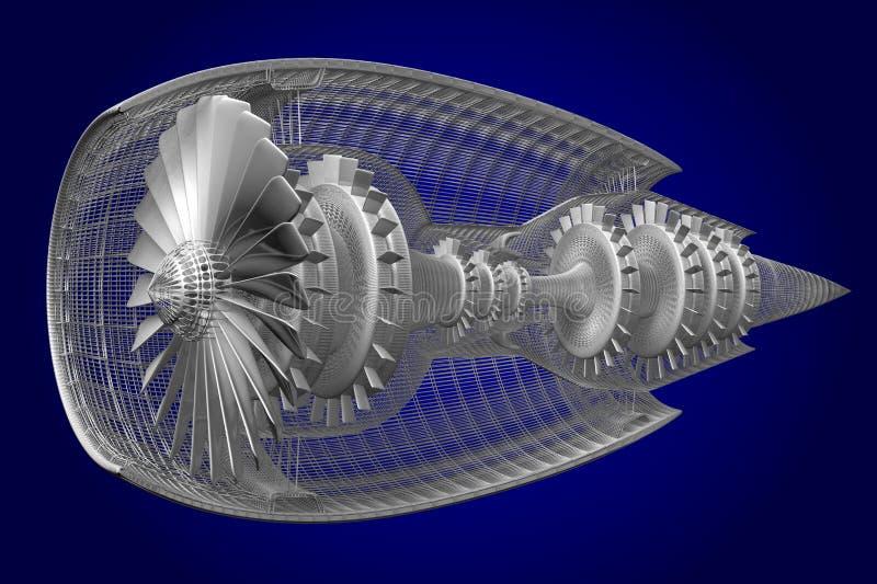 3D straalmotor - voor, zijaanzicht vector illustratie