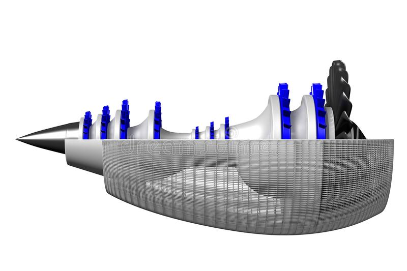 3D straalmotor - zijaanzicht stock illustratie