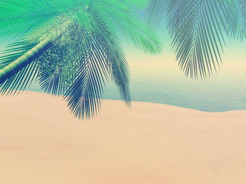 3D strandscène met palmen met uitstekend effect vector illustratie