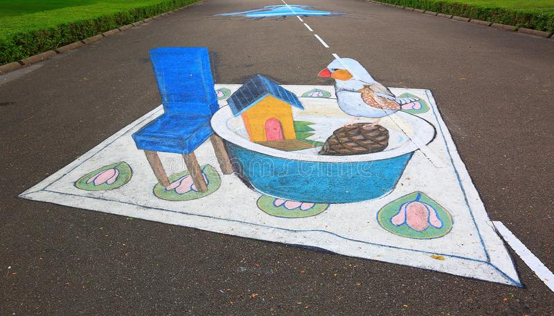 3D street anamorphic painting on asphalt in a park. View of blue chair near deep plate with toy hause and bird figure. royalty free illustration