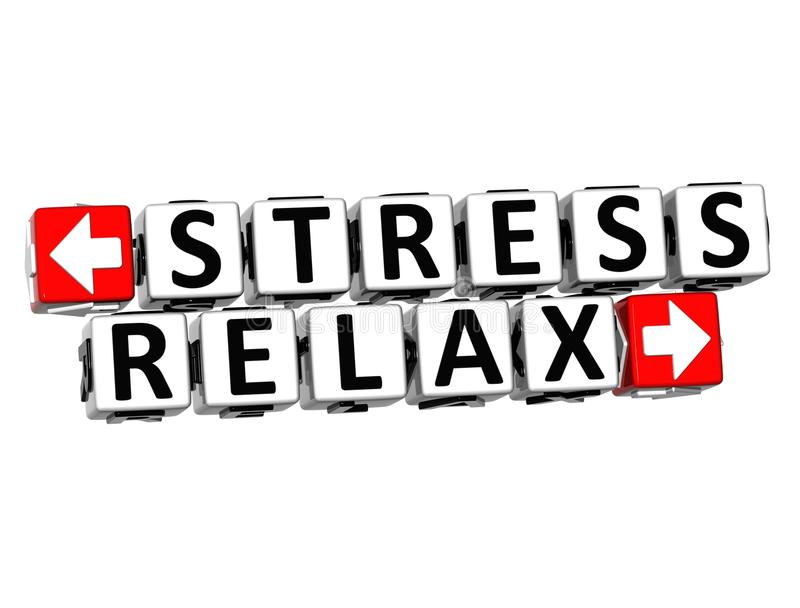 3D Stress Relax Button Click Here Block Text vector illustration
