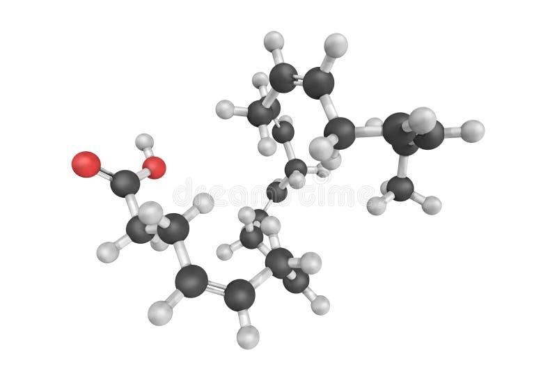 3d structure of Docosahexaenoic acid DHA, an omega-3 fatty aci royalty free illustration
