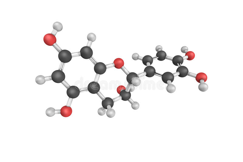 3d structure of Epicatechin, a cis configuration of Catechin. A type of natural phenol and antioxidant. It is a plant secondary metabolite stock illustration