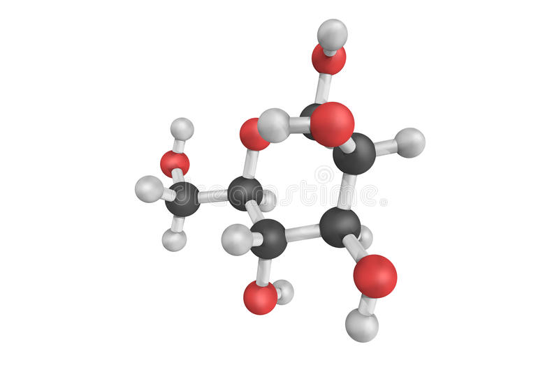 3d structure of Mannose, a sugar monomer of the aldohexose series of carbohydrates. Important in human metabolism, especially in. The glycosylation of certain royalty free illustration