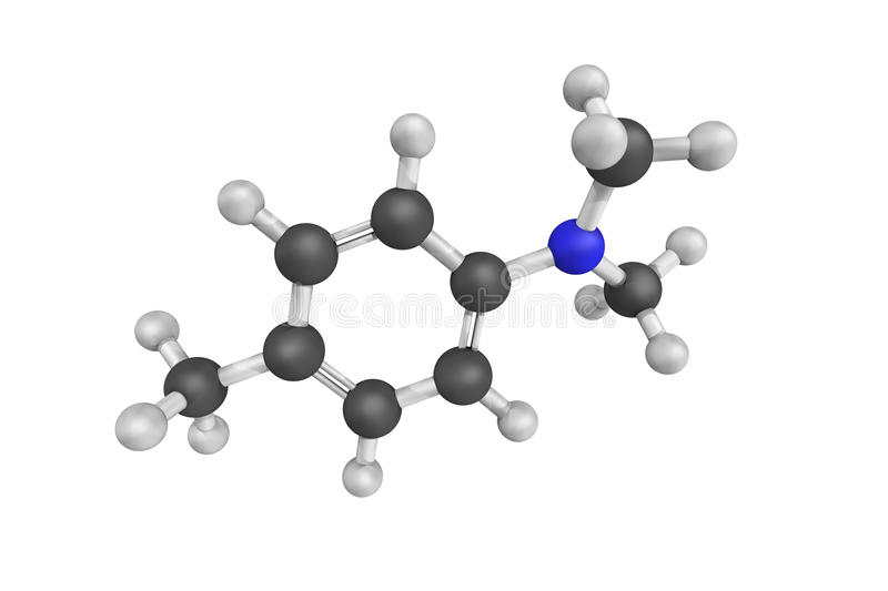 3d structure of N,n-dimethyl-p-toluidine, a clear colorless liquid with an aromatic odor. Insoluble in water. Toxic by skin royalty free illustration