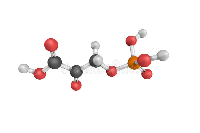 3d structure of Phosphohydroxypyruvic acid, an intermediate in t. He synthesis of serine stock photography