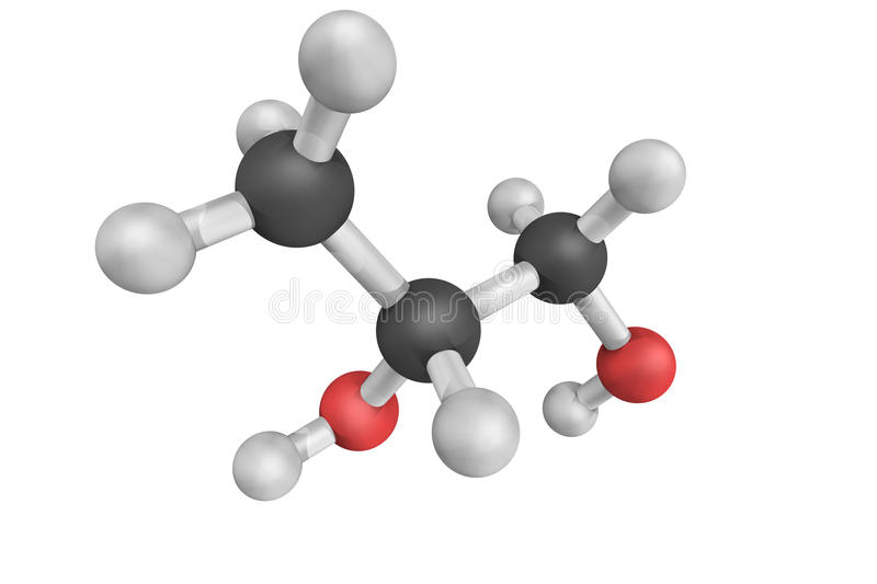 3d structure of Propylene glycol, a synthetic organic compound. It is a viscous colorless liquid which is nearly odorless but possesses a faintly sweet taste royalty free illustration