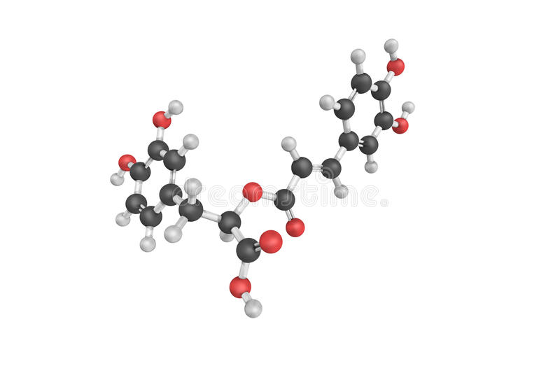 3d structure of Rosmarinic acid, a chemical compound. Found in a variety of plants. It has antioxidant properties royalty free illustration