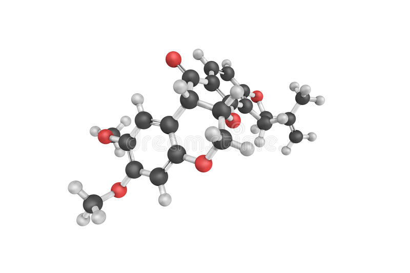 3d structure of Rotenone, an odorless, colorless, crystalline. Isoflavone used as a broad-spectrum insecticide, piscicide, and pesticide. It occurs naturally in vector illustration