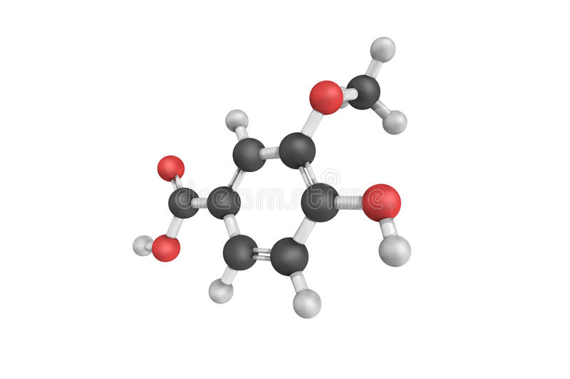 3d structure of Vanillic acid, a dihydroxybenzoic acid derivative used as a flavoring agent. It is an oxidized form. Of vanillin and an intermediate in the stock illustration