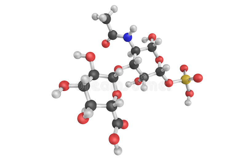 3d structuur van Chondroitin sulfaat, een gesulfateerde glycosaminoglyca royalty-vrije illustratie