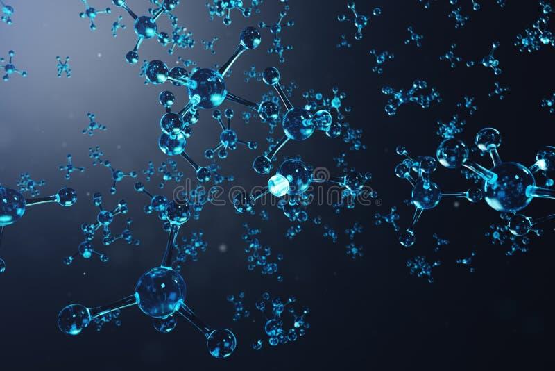 3D structuur van de illustratiemolecule Wetenschappelijke medische achtergrond met atomen en molecules Wetenschappelijke achtergr stock illustratie