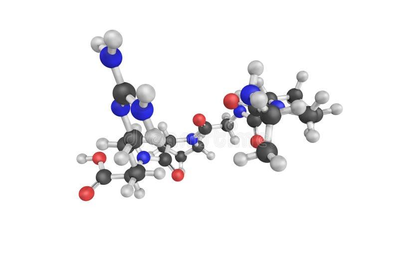 3d structuur van Enterostatin, een pentapeptide die uit een proe wordt afgeleid stock fotografie